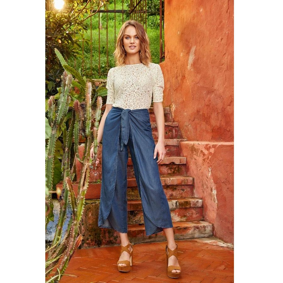 Pantalon-FIORY--Azul-Talla-M---Liso