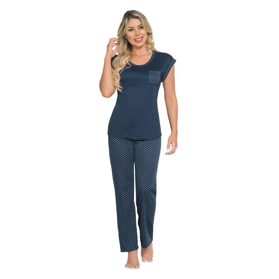 Pijama-Pantalon-Puntos-Azul-Talla-L