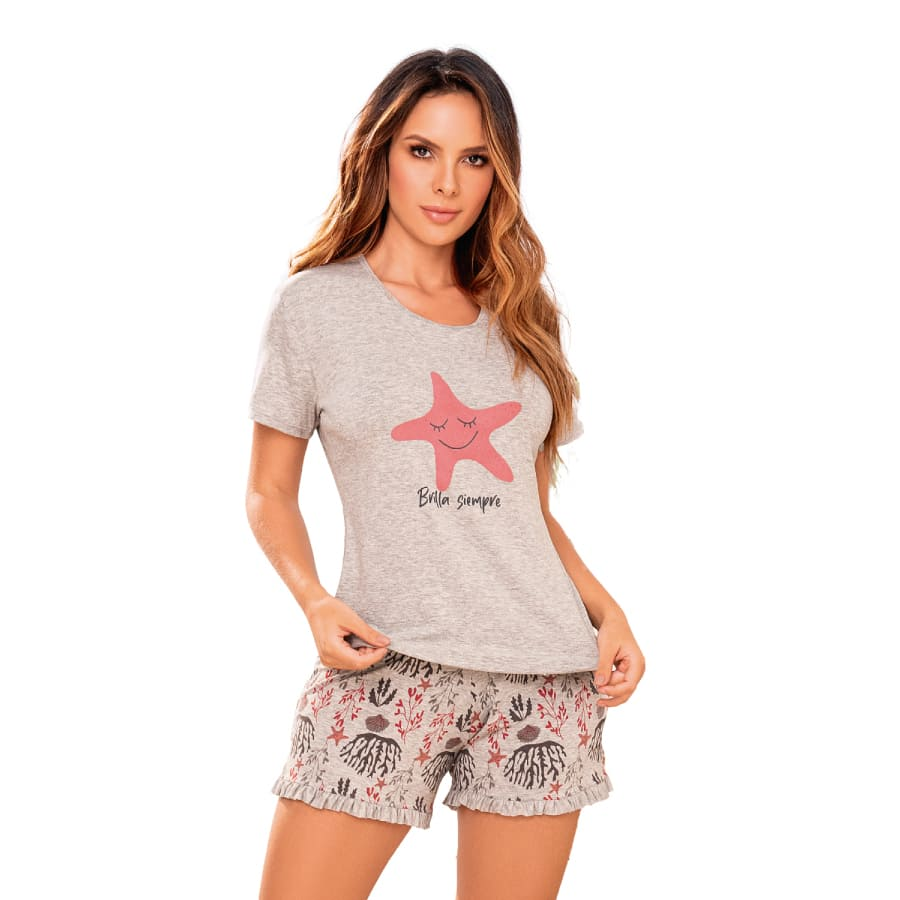 Pijama-Shorts-CHER-Estampado-Gris-Talla-M