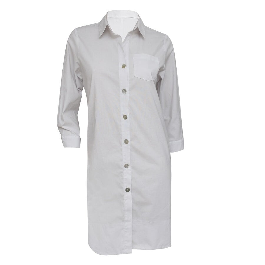 Vestido-STYLE-manga-larga-con-botones-Blanco--Talla-M