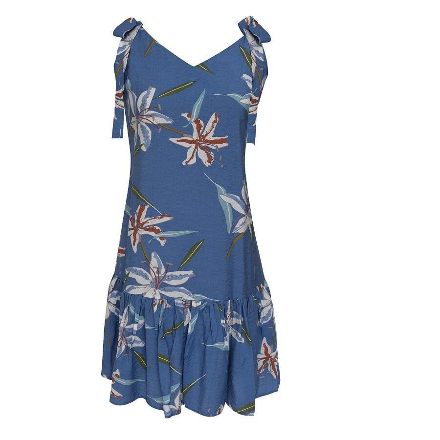 Vestido-STYLE--estampado-Flores--Azul--Talla-M