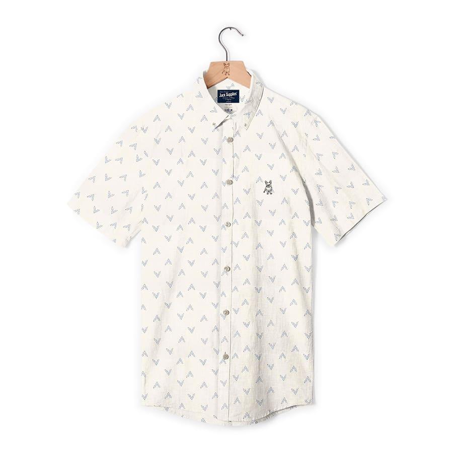 Camisa--JACK-SUPPLIES-Manga-Corta-Estampada-Blanco--Talla-M