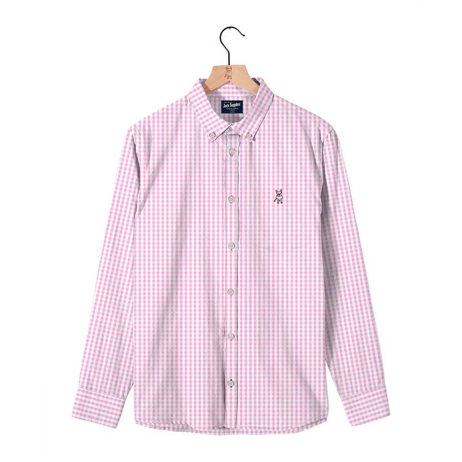 Camisa-Manga-larga--JACK-SUPPLIES-de-cuadros--Rosa-Talla-XL