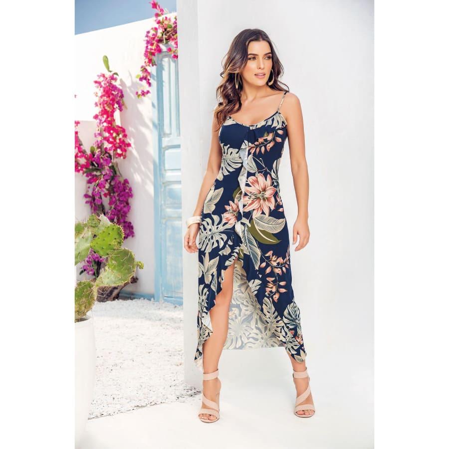 Vestido--FIORY-Arandelas-y-abertura-Talla-M