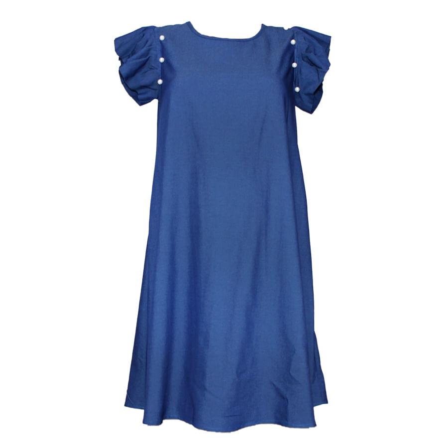 Vestido-de-Chambray-MAJANDRA-Manga-Corta--Azul--Talla-M