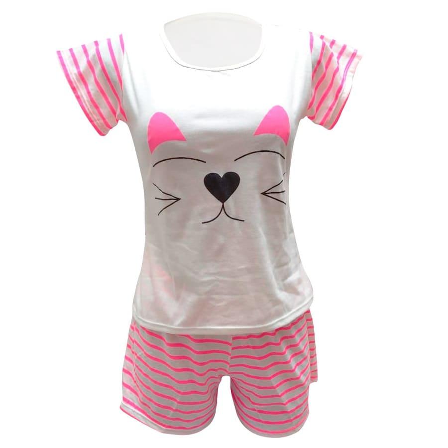 Pijama-Short-LELY-Fondo-Marfil-Raya-Fucsia