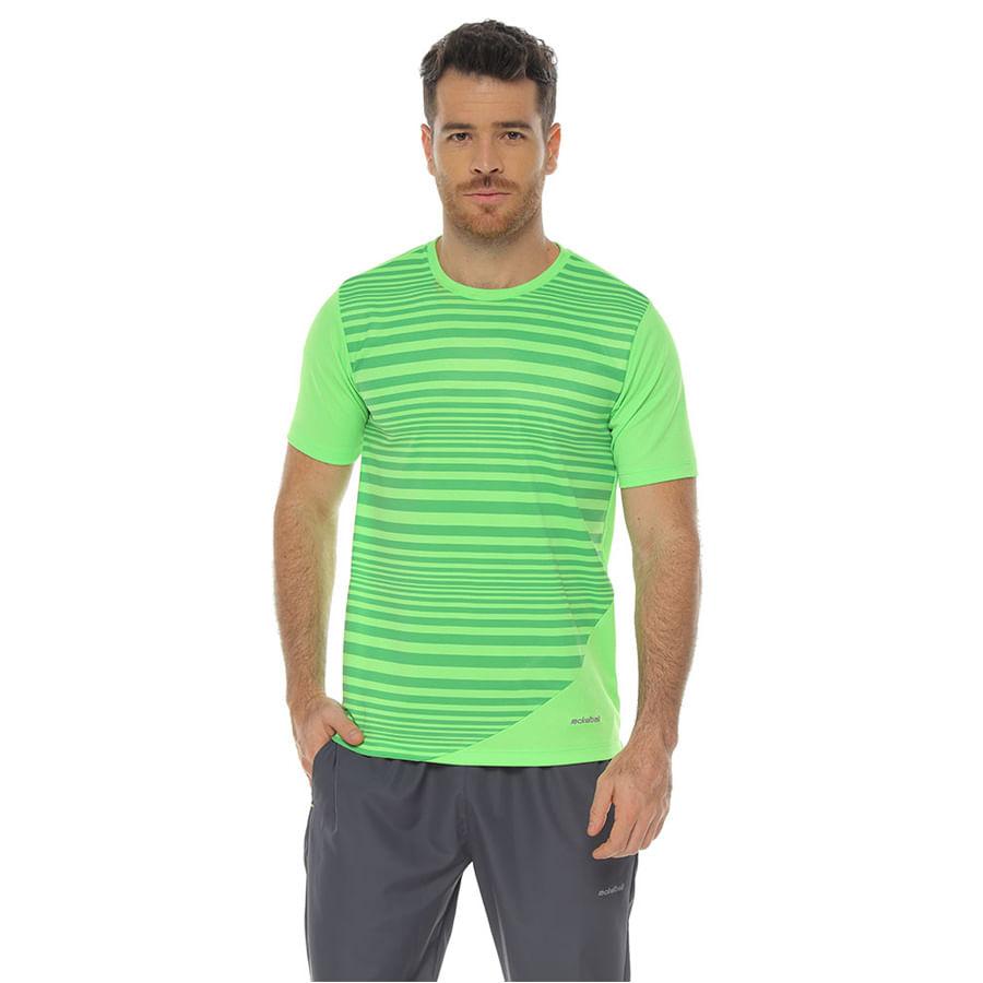 Camiseta-Deportiva-DAKOTA-Estampado-de-Rayas--Verde----Talla-L