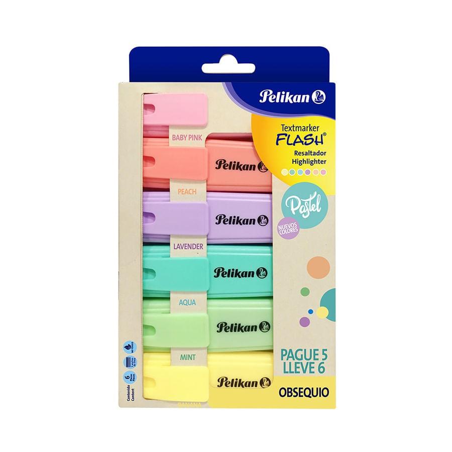 Resaldtador-PELIKAN-Flash-Pastel-Caja-X6