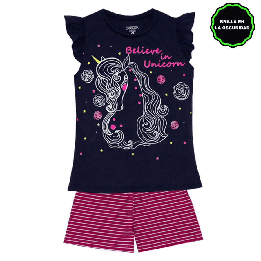 Pijama-Short-DAKOTA-KIDS-Believe--in-unicorn