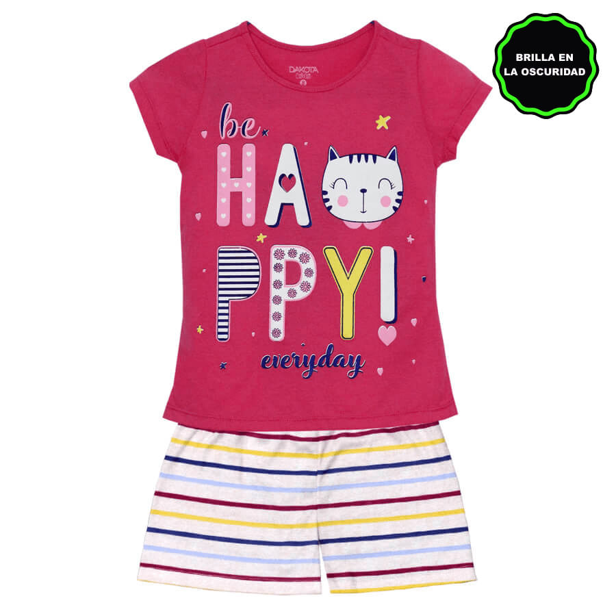 Pijama-Short-DAKOTA-KIDS-Be-happy-everyday--Fucsia--Talla-12