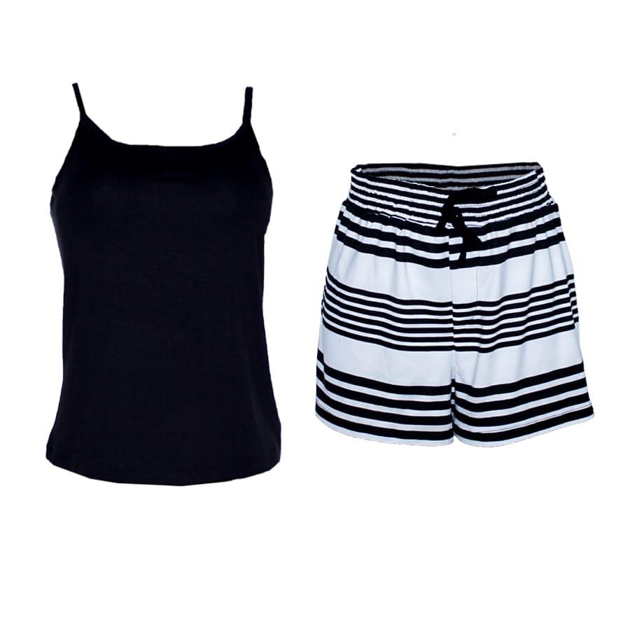 Pijama-Short-DAKOTA-Lisa---Estampada--Talla-M-blusa-negra-short-rayas-blanca-y-negro