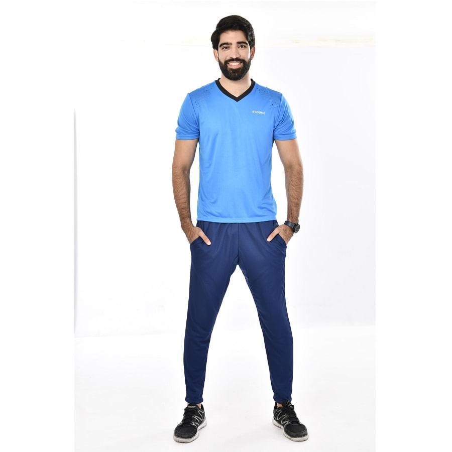 Camiseta-Deportiva-BYOUNG-Lisa-cuello-V--Talla-XL-Azul