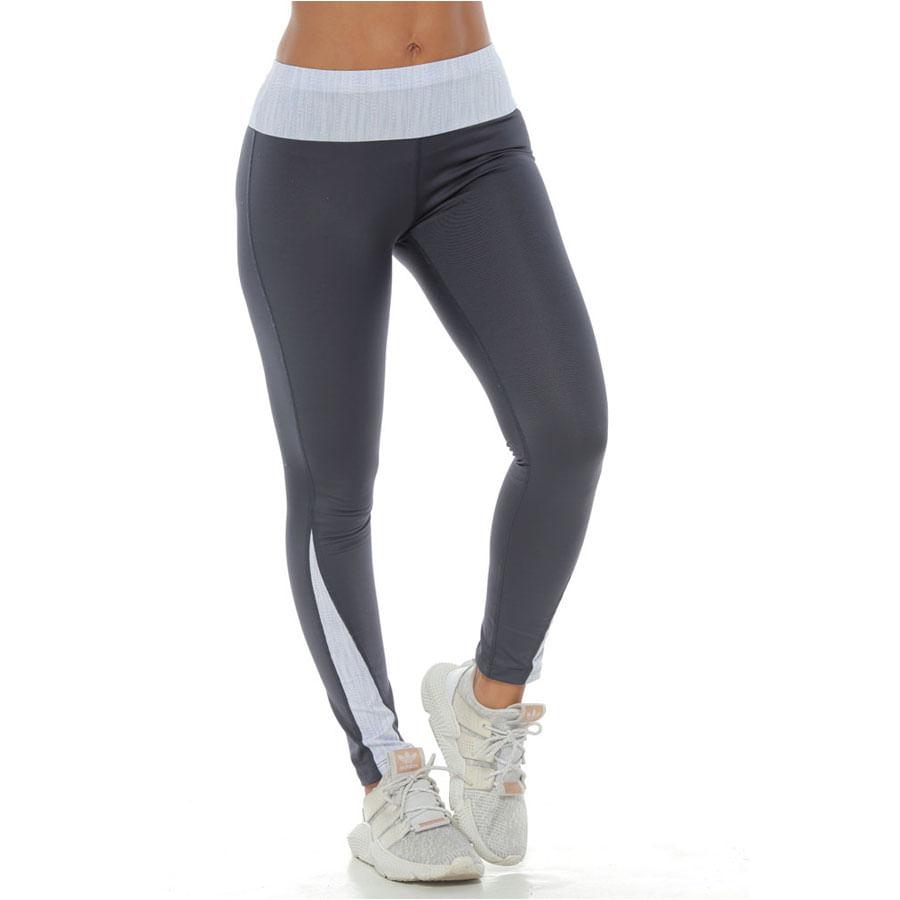 Pantalon-deportivo-DAKOTA-Ajustado--Talla-L-Gris-osc-Blanco