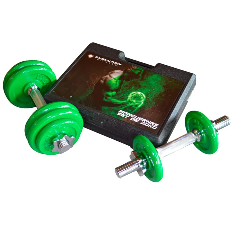 Set-De-Mancuernas-EVOLUTION-20-Kg---Verde