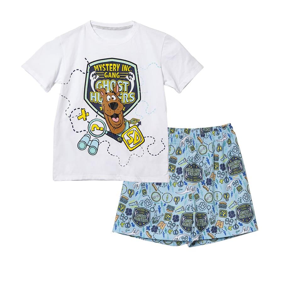 Pijama-Corta-SCOOBY-DOO-Mystery-Inc-Ganc-Blanco-Azul-Talla-12
