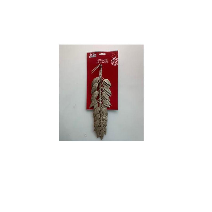 Ornamento-Navideño-Hojas-Decorativas---Champaña-15-Cm