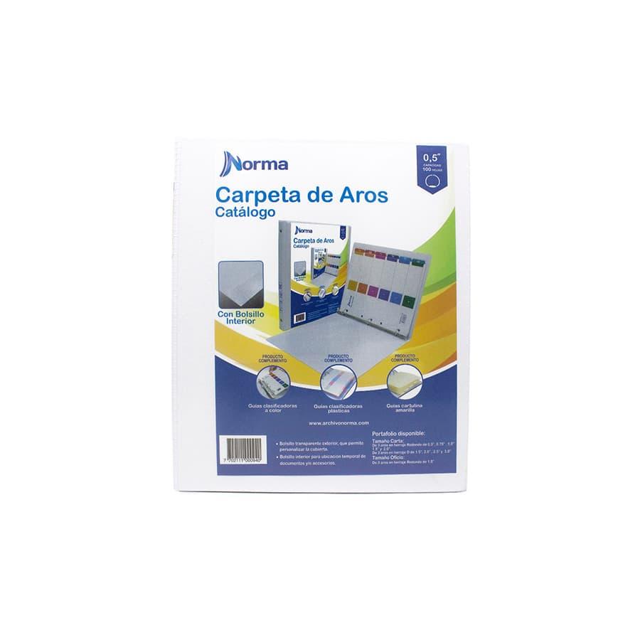 Carpetas-De-Aros-NORMA-Pasta---Catalogo---Blanca---Carta-05-Redondo---3-Aros---8-Unidades