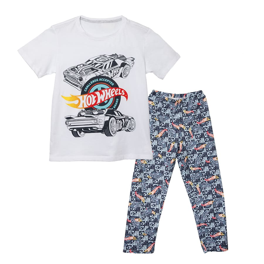 Pijama-Larga-HOT-WHEELS-Blanco-Negro-Talla-12